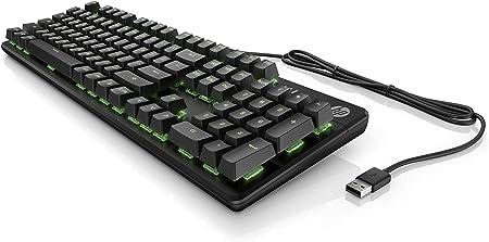 HP Pavilion Gaming Teclado 550 (interruptores Rojos, iluminación RGB, QWERTZ, 10 Teclas, función Anti-ghosting, Modo Gaming, pies Ajustables), Color ...
