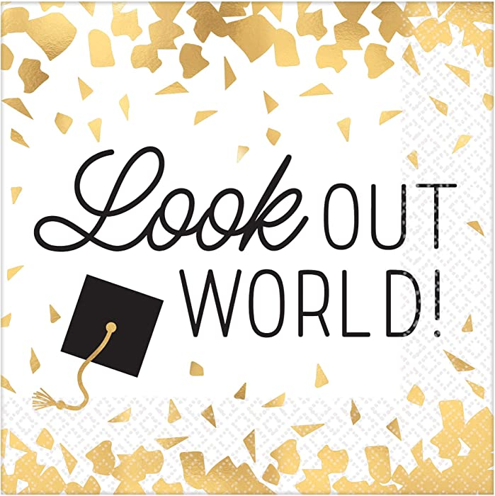 amscan Graduation Party Beverage Napkins, Look Our World, White with Black and Gold Print, 16 count