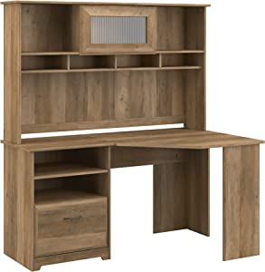 Bush Furniture Cabot Corner Desk with Hutch, Reclaimed Pine
