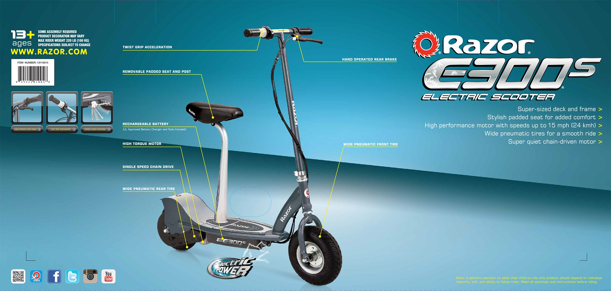 Razor E300S Seated Electric Scooter - 13116214 < Scooters