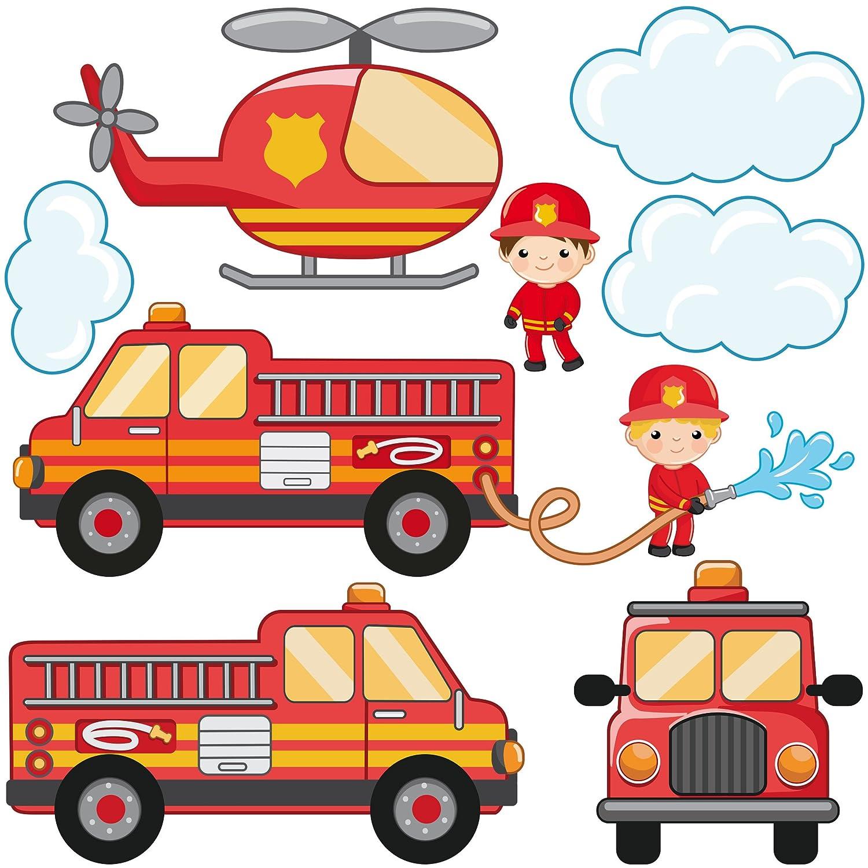 Bilderwelten Wandtattoo Feuerwehr-Set mit Fahrzeugen Wandtatoo Wandsticker Kinderzimmer, Größe: 100cm x 100cm