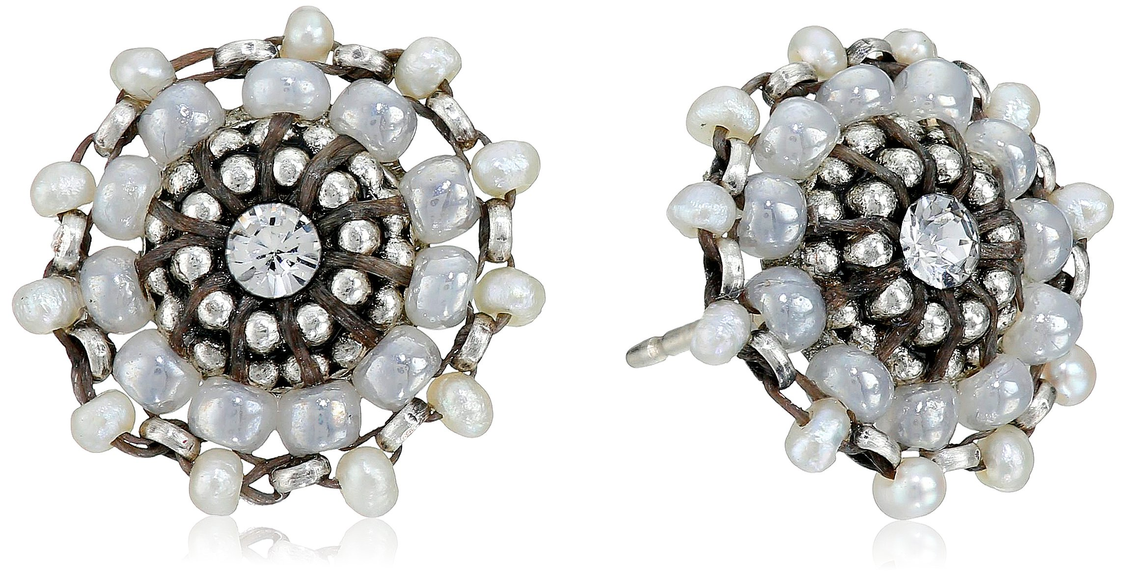 Miguel Ases Seed Pearl and Sterling Silver Small Stud Earrings
