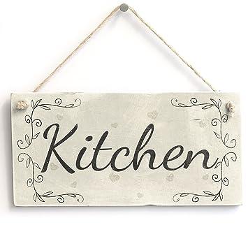 Amazon.com: Cocina – Pequeño cartel rústico de madera Shabby ...