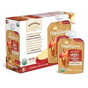 Happy Family Happy Baby Organics Nutty Blends with 1 tsp, Apple & Walnut Butter, 3 Oz (Pack of 8)