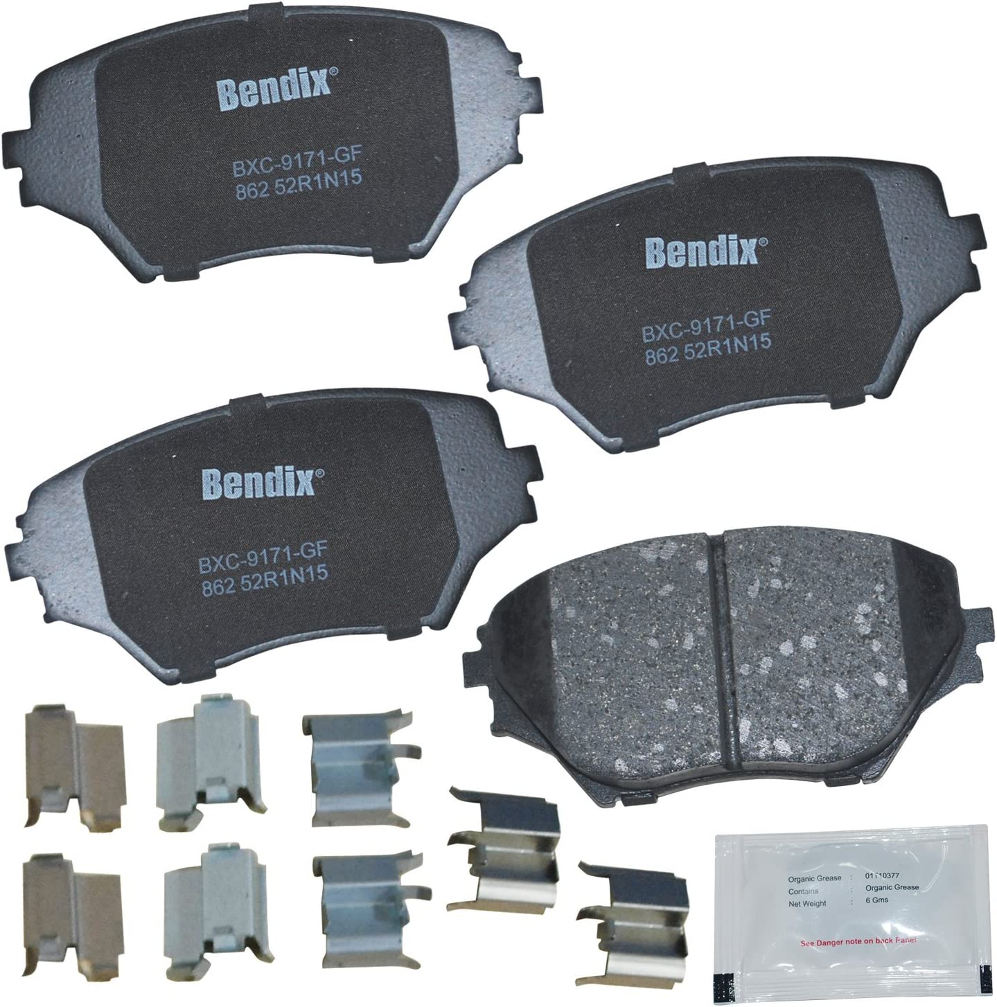 with Installation Hardware Front Bendix Premium Copper Free CFC862 Premium Copper Free Ceramic Brake Pad