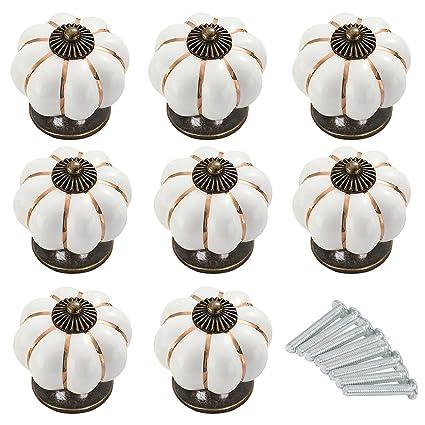 8 Perillas de Cerámica Blanca / Crema con Tornillos - Tiradores de Ceramica - Pomo de Armario - Efecto Antiguo Para Armarios de Cocina, Puertas, ...