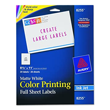 Amazon avery color printing labels for inkjet printers avery color printing labels for inkjet printers matte white 85 x 11 inch pronofoot35fo Images