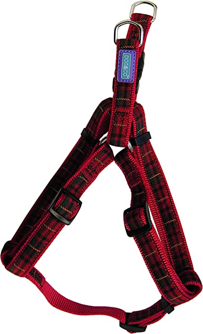Red and Green Tartan Plaid Step in  Harness for Dogs