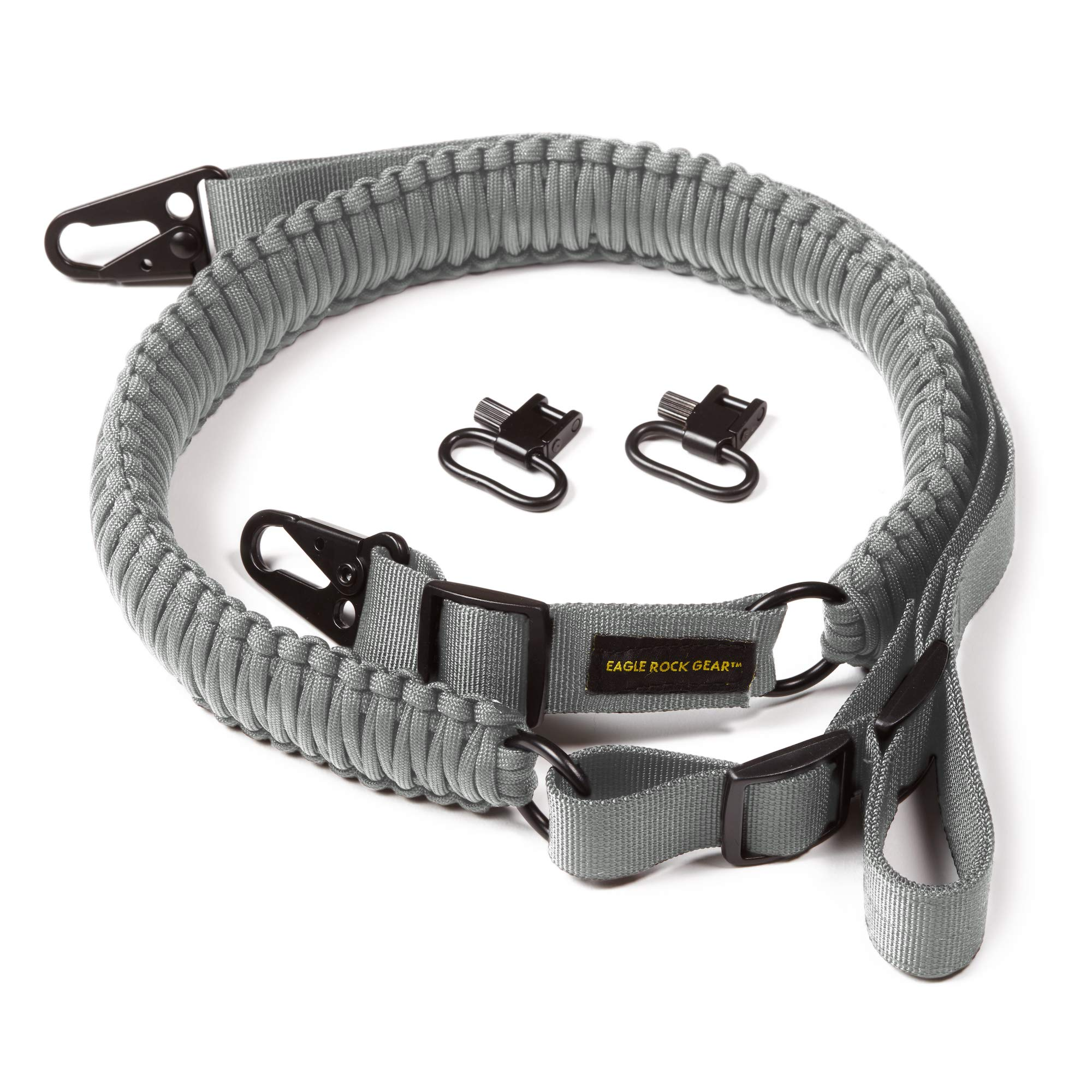 Eagle Rock Gear 550 Paracord 2 Point Gun Sling for Rifles, Shotguns, Crossbows, Airsoft - with Easy Adjustable Strap, HK Clips, Swivels (Gray) by Eagle Rock Gear