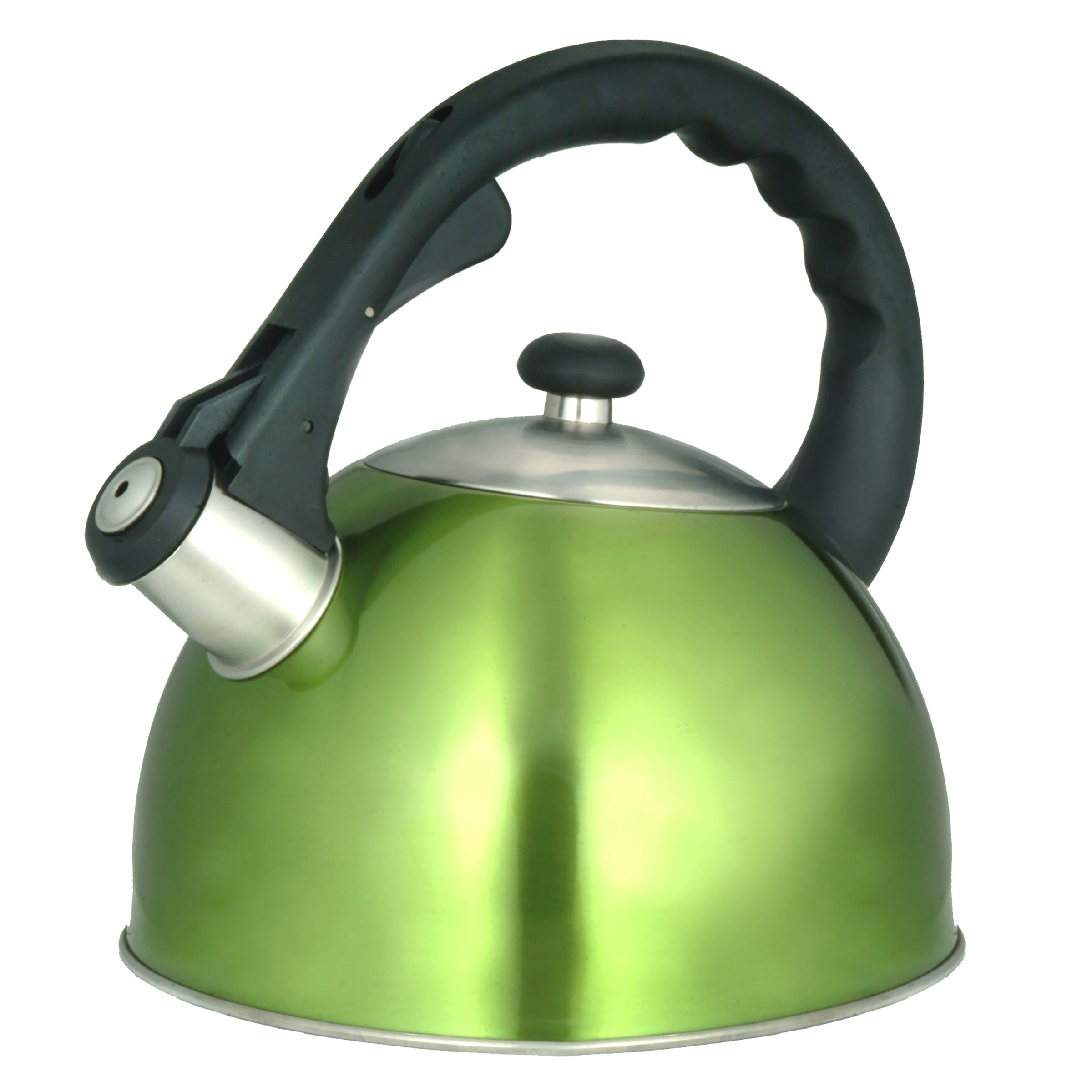 Creative Home Satin Splendor High Quality Stainless Steel 2.8-Quart Whistling Tea Kettle, Chartreuse