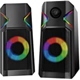 RGB Computer Speakers - UCMDA Gaming Speakers with 10 RGB LED Backlit Effect, 10W Enhanced Stereo Computer Speakers/2.0 USB P