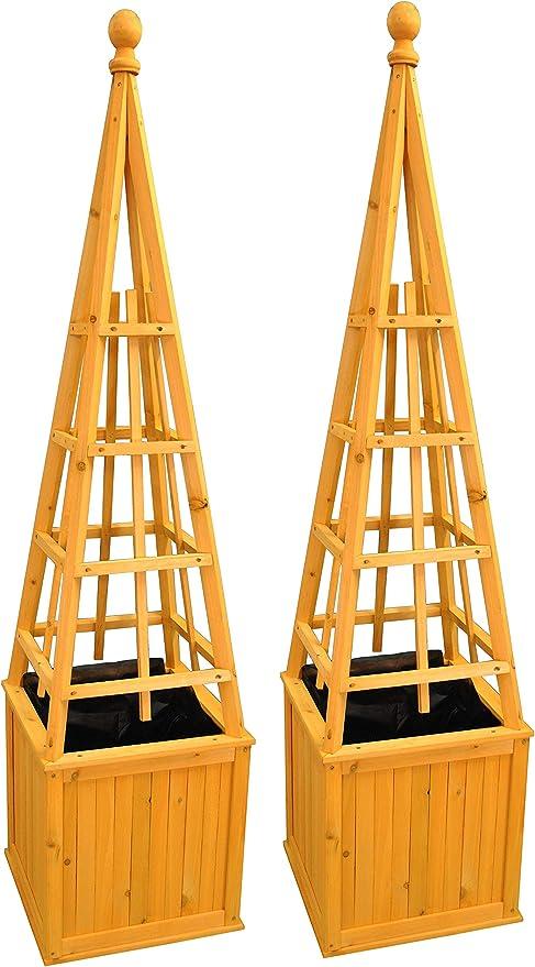 Juego de 2 obeliscos de madera para plantas enredaderas: Amazon.es ...
