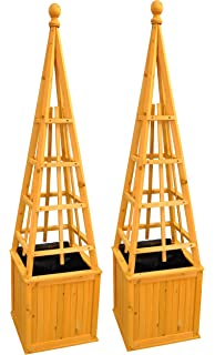 Juego de 2 obeliscos de madera para plantas enredaderas
