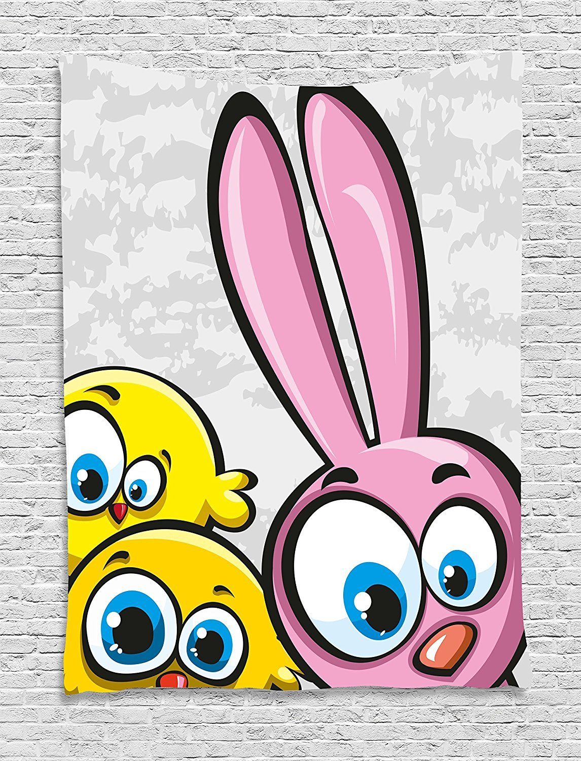 asddcdfdd Funny Tapestry, Bunny with Chickens Humor Childish Celebration Rabbit Animal Characters Image, Wall Hanging for Bedroom Living Room Dorm, 60 W X 80 L Inches, Yellow Pink Dust