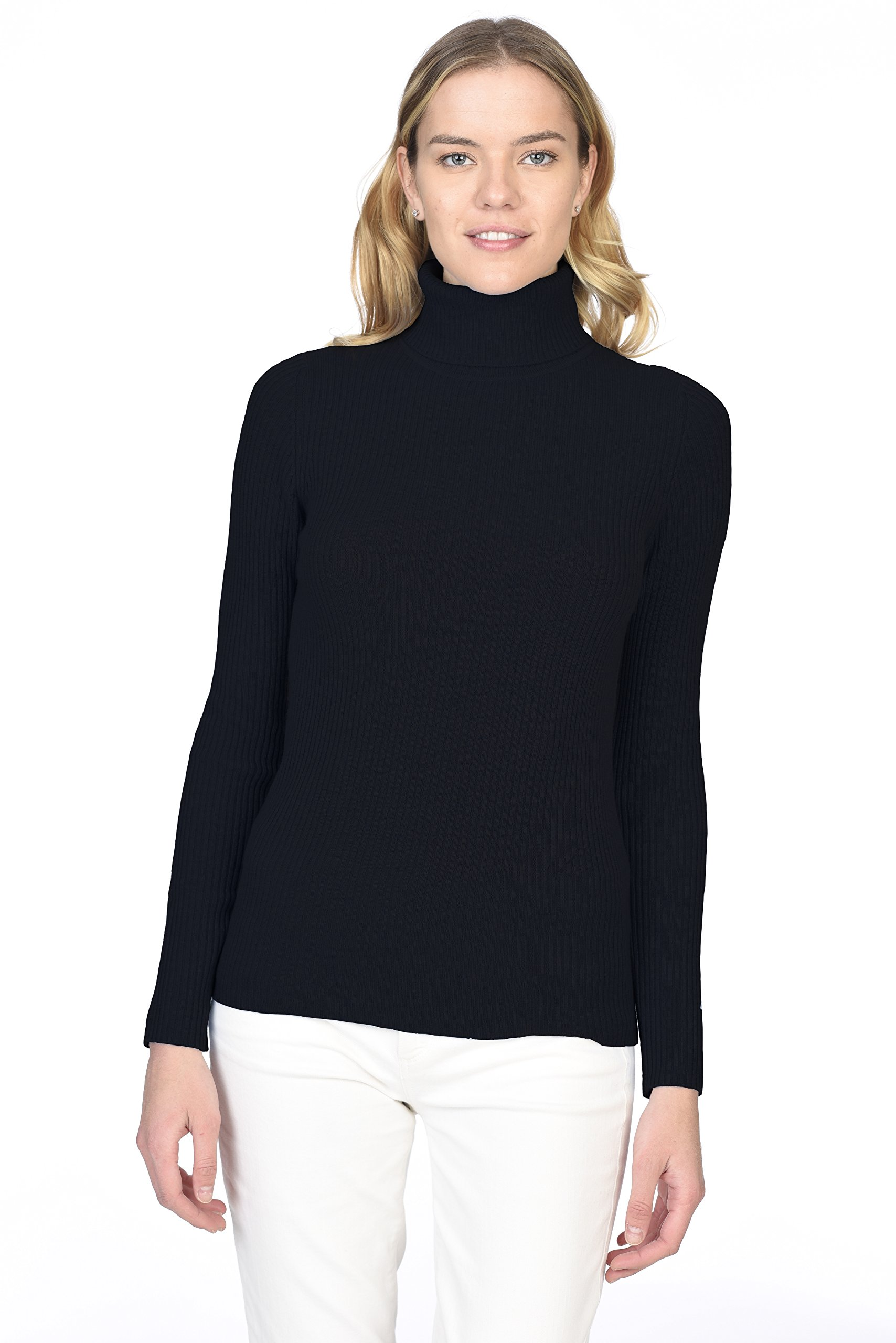 State Cashmere Women's 100% Pure Cashmere Long Sleeve Pullover Ribbed Turtleneck Sweater Black M