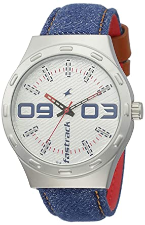 d513bb36b Image Unavailable. Image not available for. Colour  Fastrack Denim Analog  White Dial Men s Watch-3183SL01