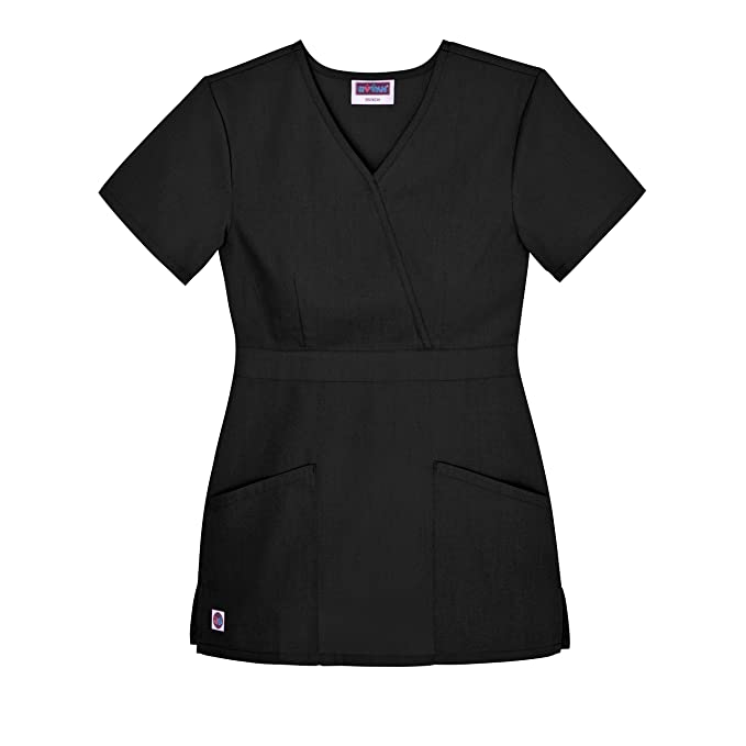 bc68147c09a Sivvan Women's Scrubs Mock Wrap Top (Available in 12 Colors) - S8302 - Black
