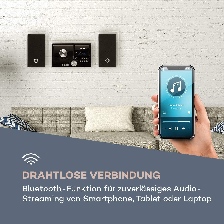 Bluetooth Radio Edition 2020 Stereoanlage CD-Player AUX-In Classic auna Stereosonic Stereo System USB-Port zur Wandmontage matt Black Kompaktanlage