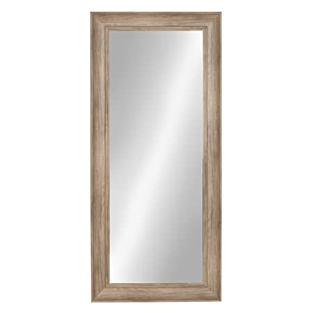Kate and Laurel Macon Framed Wall Panel Mirror, 16×36, Rustic Brown