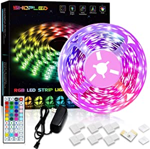 SHOPLED LED Strip Lights 16.4ft Color Changing Lights with Remote for Room, Bedroom, Kitchen