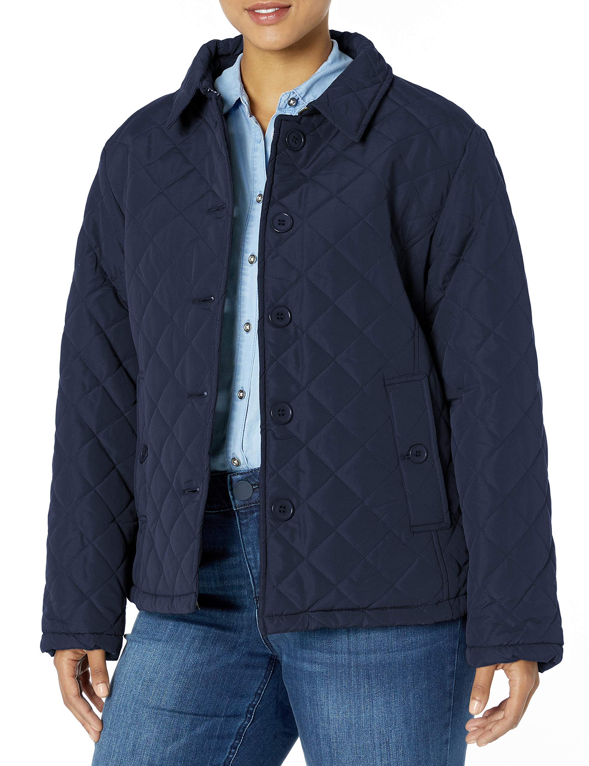 Big Chill Women's Plus Size Diamond Quilted Jacket with Fold Collar, Navy, 2X by Big Chill