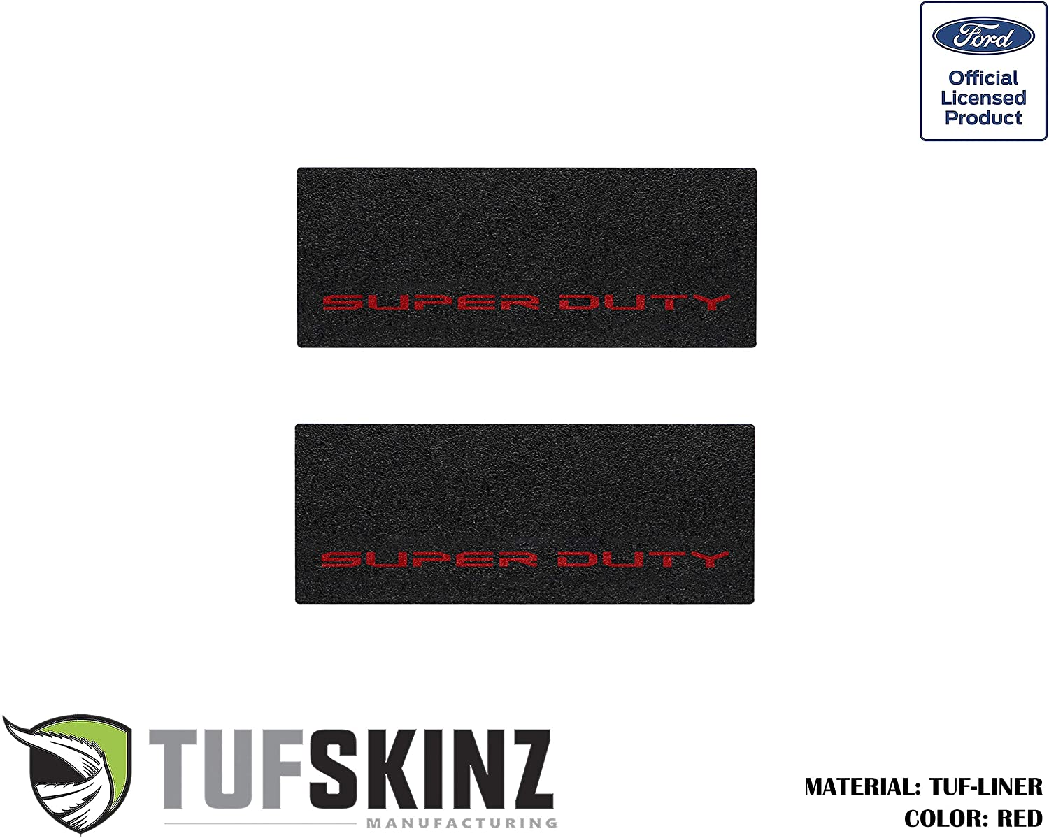 2 Piece Kit TUF-Liner, Black w//Gray Outline Logo TufSkinz Rear Door Sill Protection Fits 2017-Up Ford Super Duty