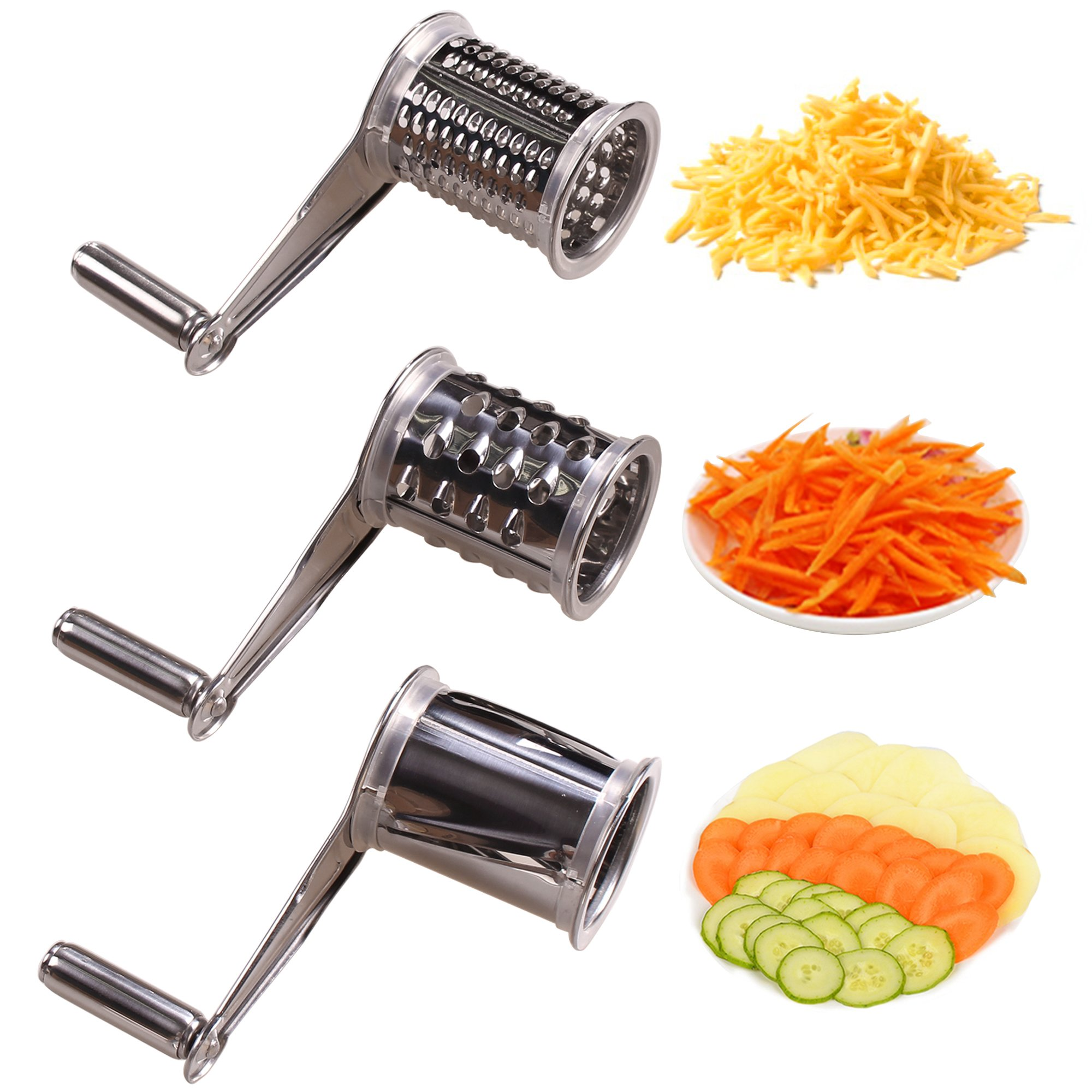Rotary Cheese Grater - LOVKITCHEN Vegetable Cheese Cutter Slicer Shredder