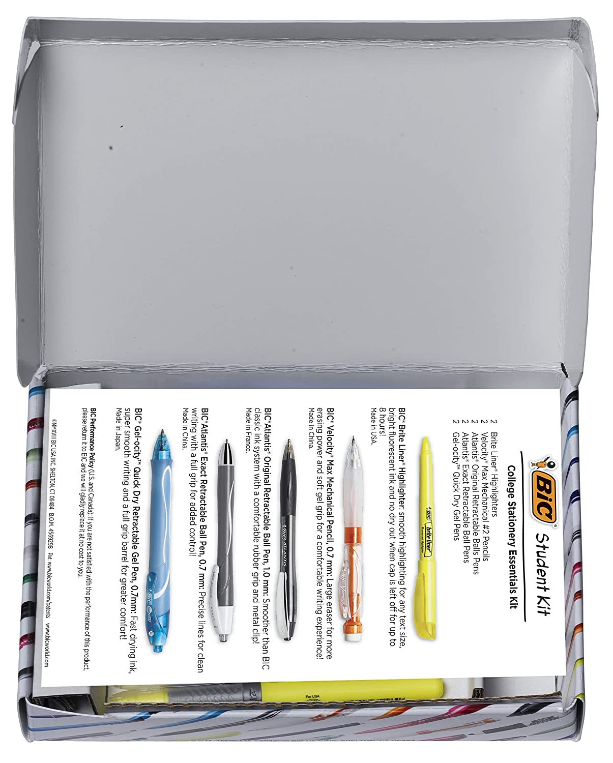 BIC Student Kit Assorted College Stationery Essentials 10-Count