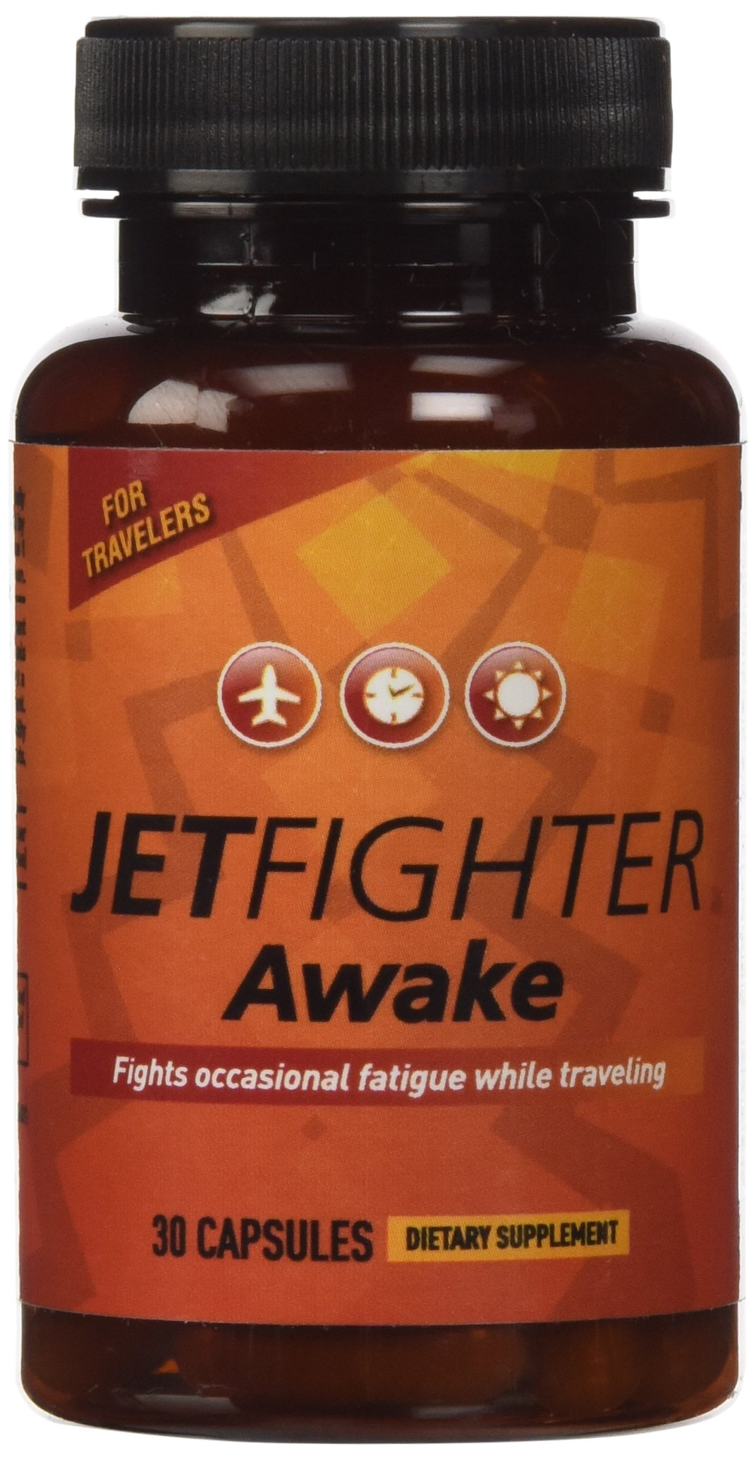 JetFighter Awake - 30 capsules - Jet Lag Relief Supplement - Combats Daytime Sleepiness - Helps Regulate Circadian Rhythm - Contains Caffeine - Works Best with JetFighter Sleep