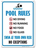 Pool Sign - Swimming Pool Rule Sign - 14 x10 Blue, Red, Black on White Rust Free Aluminum Sign