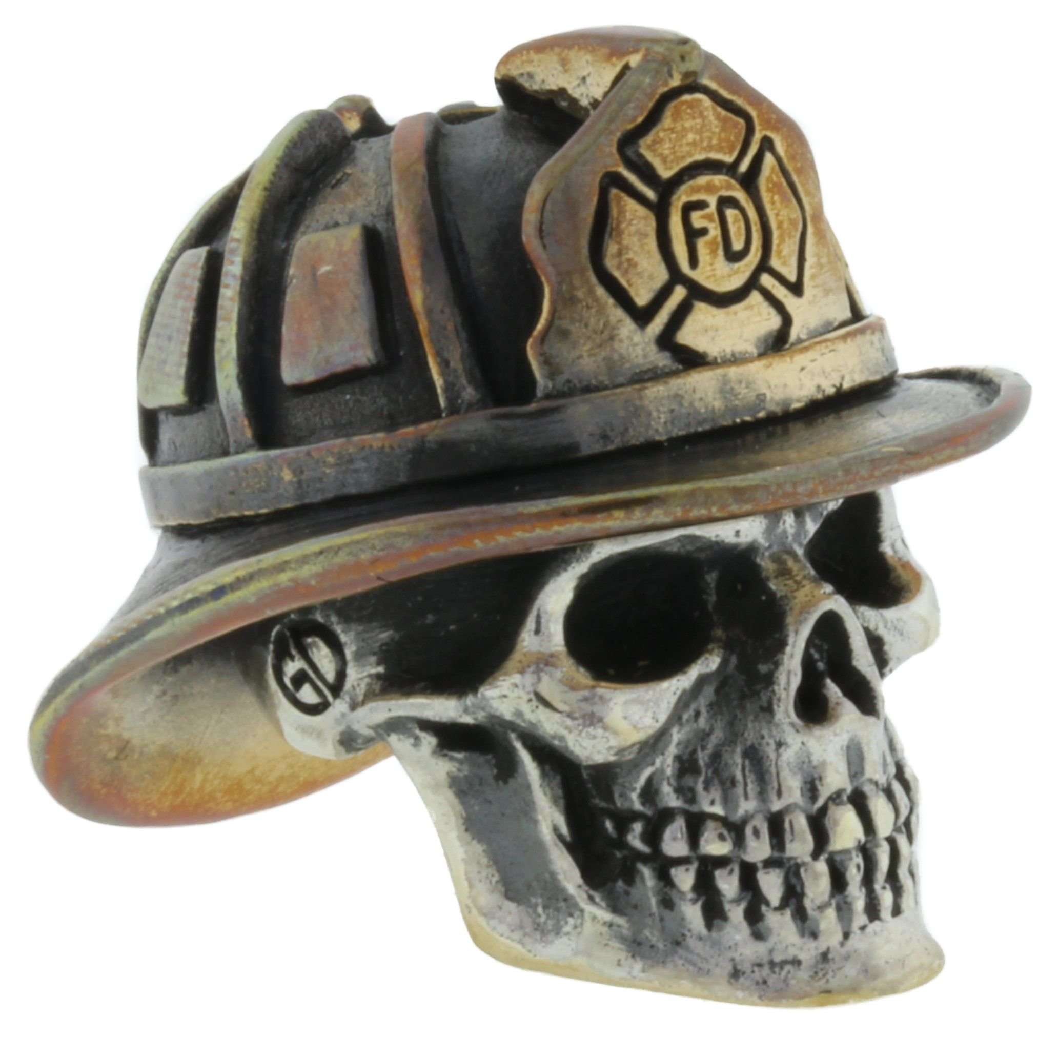 Firefighter Paracord / Lanyard Bead in .925 Sterling Silver & Bronze by GD Skulls by Jig Pro Shop