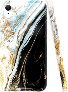 A-Focus Case for iPhone XR Case Marble, Glossy Smooth Marble Series Rock Stone IMD Design Bumper Shock Proof Flexible Slim TPU Rubber Case for iPhone XR 2018 6.1 inch Glossy Black Yellow