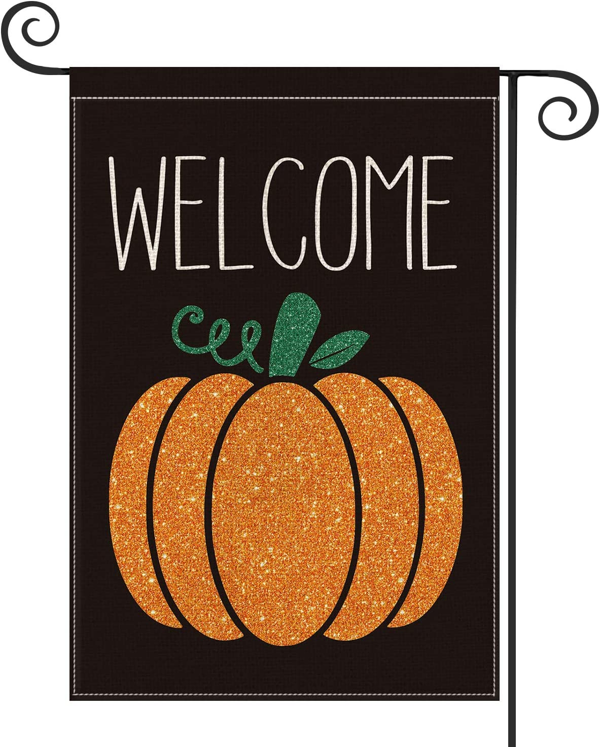 AVOIN Welcome Fall Pumpkin Garden Flag Vertical Double Sized, Seasonal Autumn Thanksgiving Yard Outdoor Decoration 12.5 x 18 Inch
