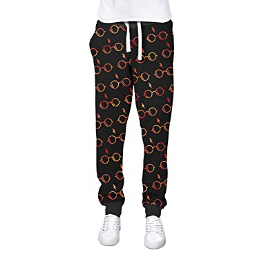 52a20e37fb479 Glasses   Lightning Bolt Harry Potter Inspired Cuffed Joggers Sweatpants  Jogging Bottoms