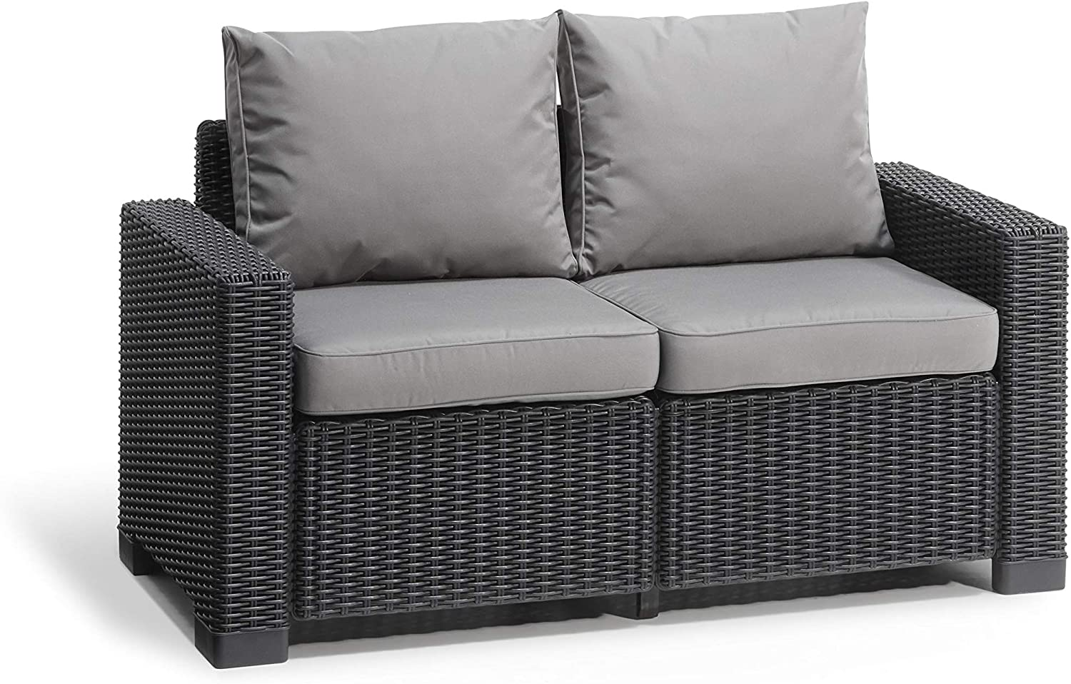 Allibert by Keter California 10 Seater Rattan Sofa Outdoor Garden Furniture  - Graphite with Grey Cushions