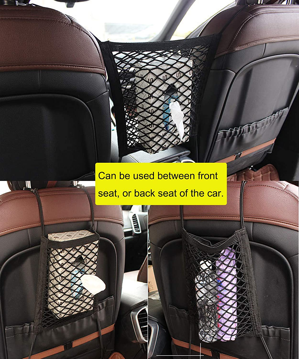 Dual-layer Car Mesh Organizer Storage Net Backseat Cargo Net Bag Seat Back Organizer Cargo Nets for Car Front Seat Backseat Pockets Cargo Tissue Purse Holder Pets Kids Barrier
