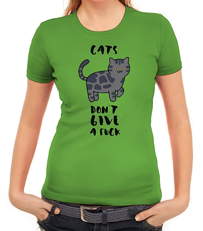 Tier Katzen Damen T-Shirt mit Cats Don't Give A Fuck Motiv von ShirtStreet:  Amazon.de: Bekleidung