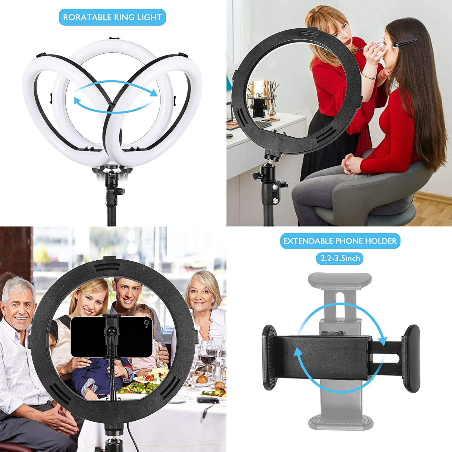 10 Selfie Ring Light with Flexible Phone Holder /& 39.1 Extendable Tripod Stand for Live Stream Makeup YouTube Video TikTok Compatible with iPhone Android