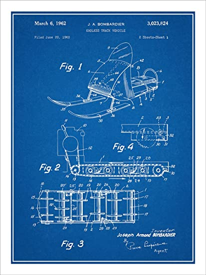 Amazon 1960 bombardier snowmobile patent print art poster 1960 bombardier snowmobile patent print art poster unframed blueprint 18quot malvernweather Images