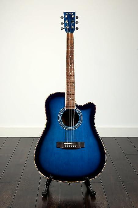 NYANGA por Quincy de la guitarra acústica de color azul y Zebrano ...