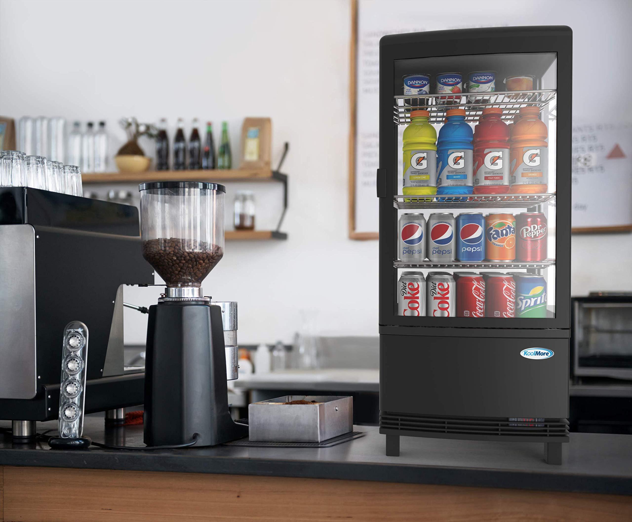 KoolMore Countertop Refrigerator Display Case Commercial Beverage Cooler with LED Lighting – 3 cu. ft Capacity, Black…