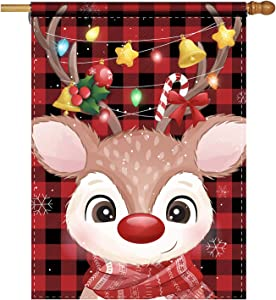 Cute Christmas Garden Flag Candy Cane Reindeer Winter Holiday Decorative Home Garden Flag Decor Banner for Outside Holiday Ornament Flag Yard Outdoor Decoration 28 x 40 Inch(Double Sided)