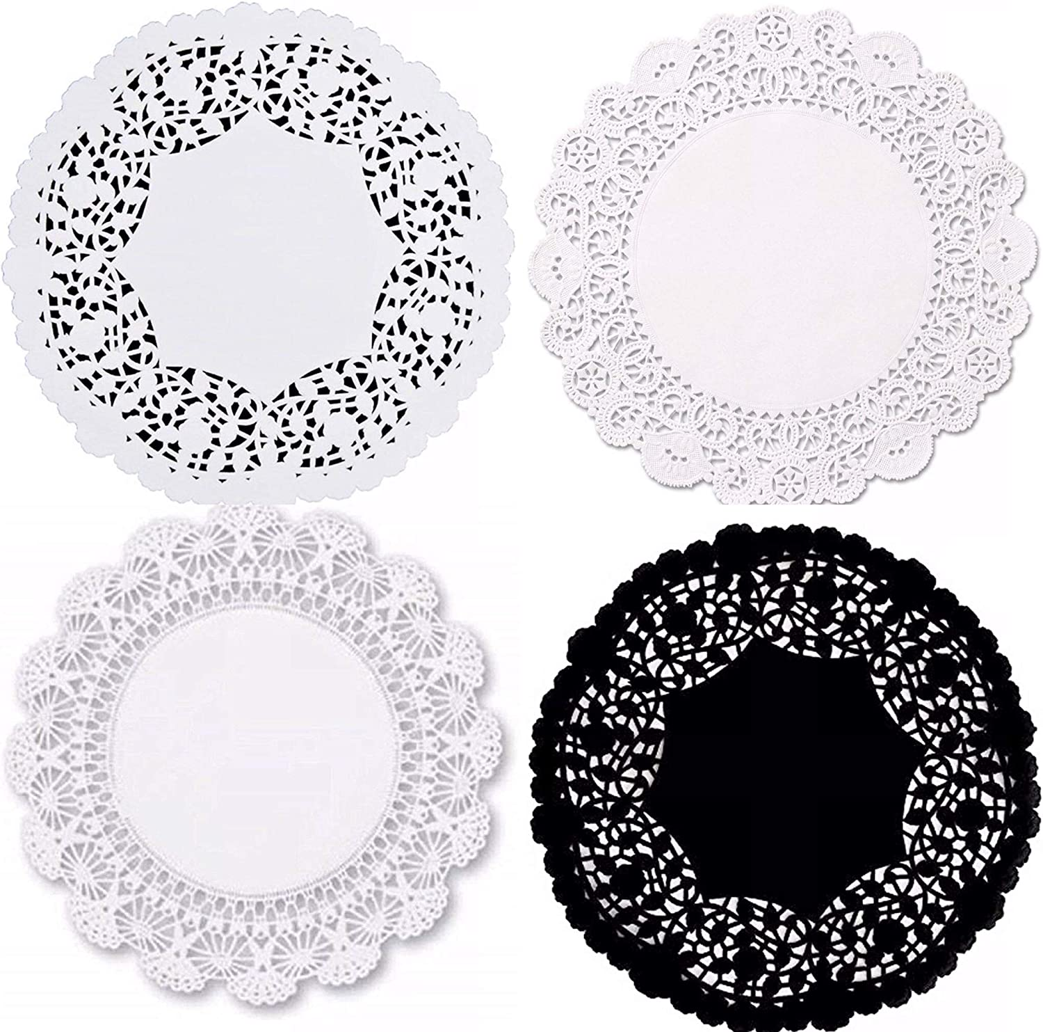 pack of 48-12 of each Combo Pack White and Black 10 inch Paper Lace Doilies; Assorted Table Disposable Placemats