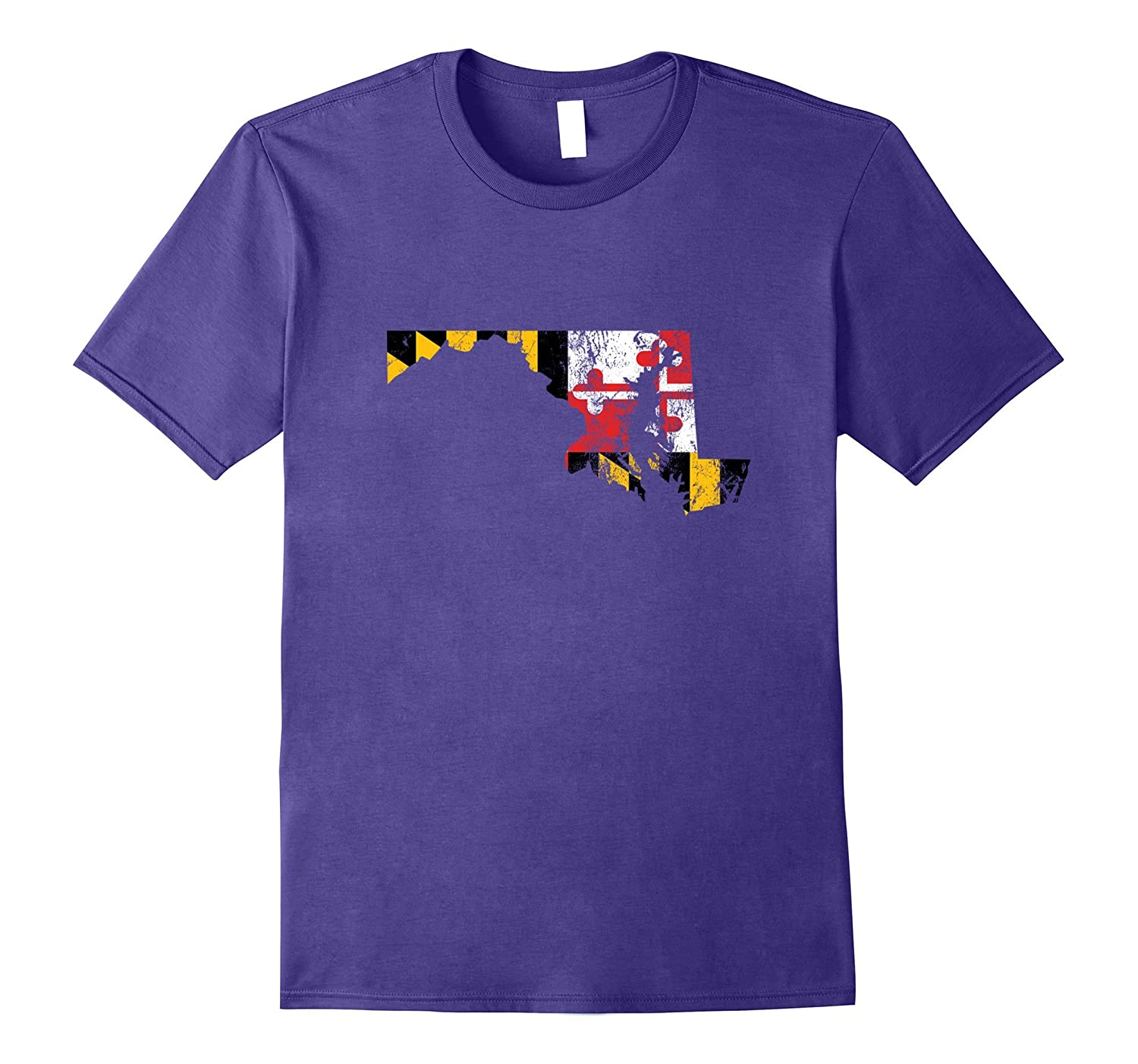 Maryland Flag State Shape Distressed T- Shirt Baltimore-ANZ