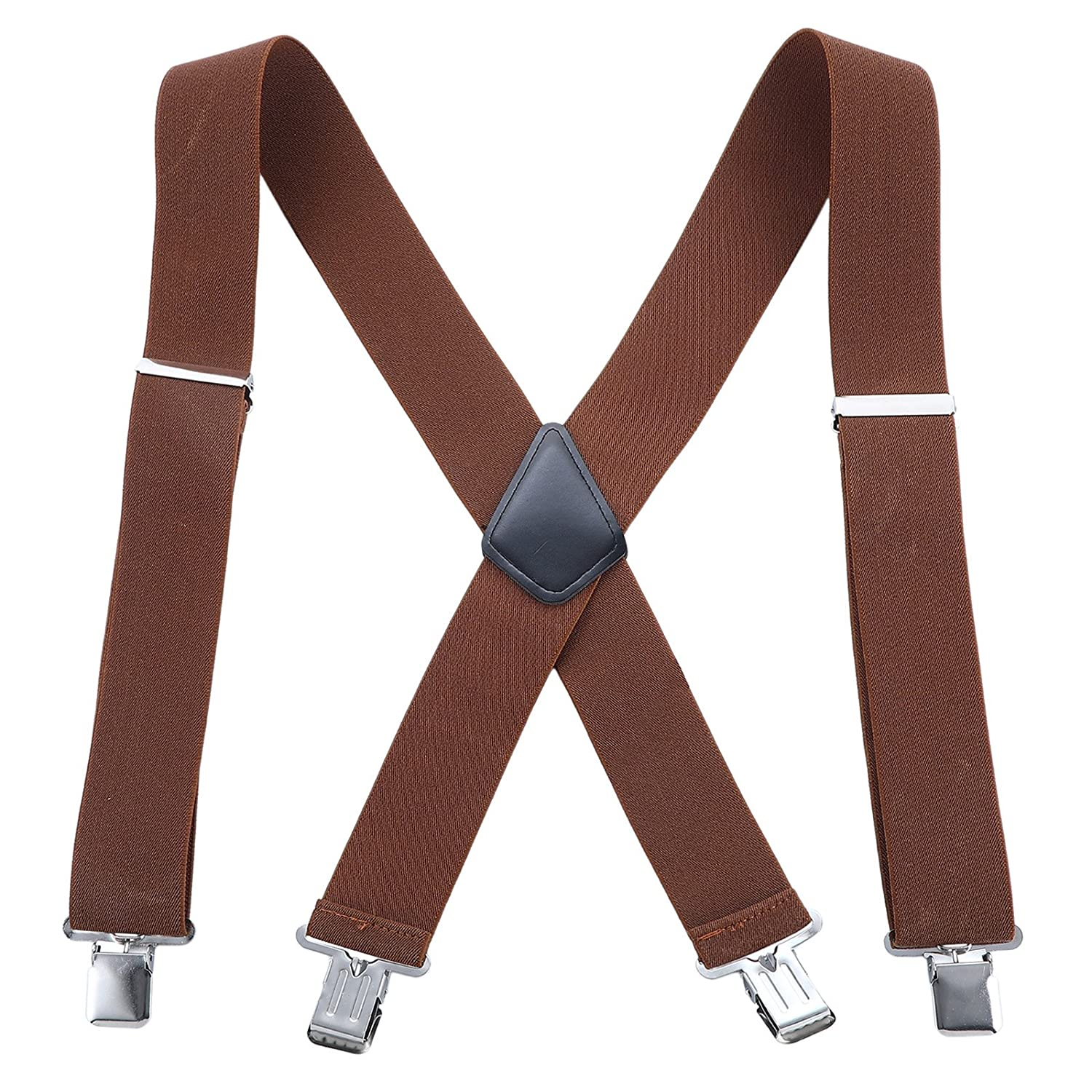 50MM Wide Men Trouser Braces - X Shape Adjustable Elasticated Heavy Duty with Strong Metal Clips 0611BDXW471