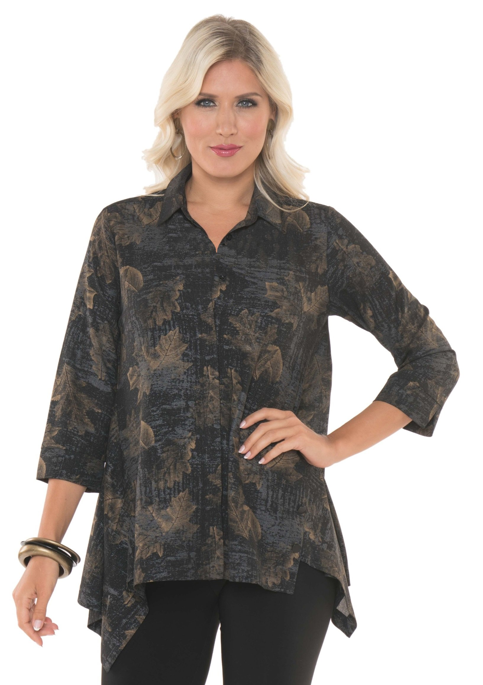 Lior Paris Women's Holiday Tunic Three Quarter Sleeve with Spread Collar Buttons down Loose Blouse