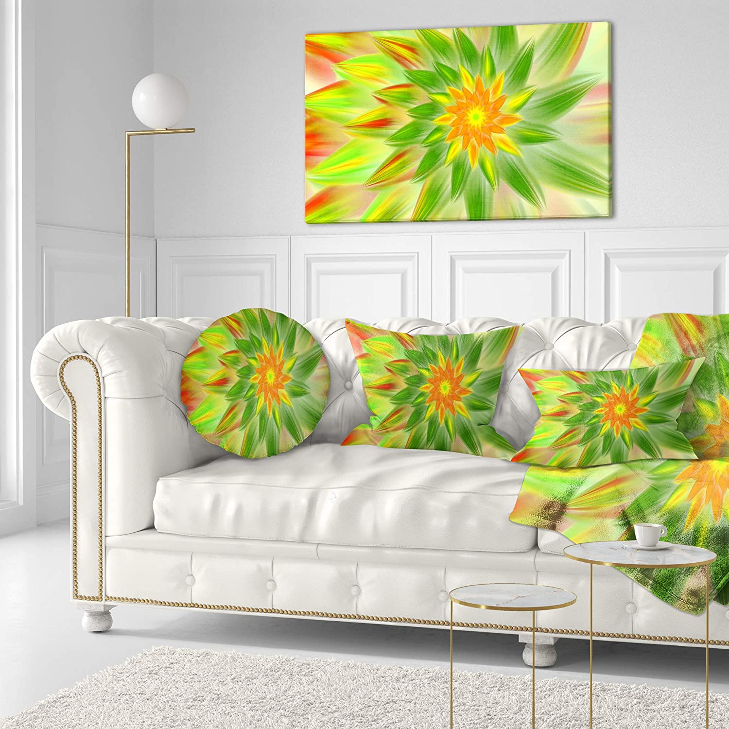 Sofa Throw Pillow 16 Designart CU15564-16-16-C Dancing Green Fractal Flower Floral Round Cushion Cover for Living Room