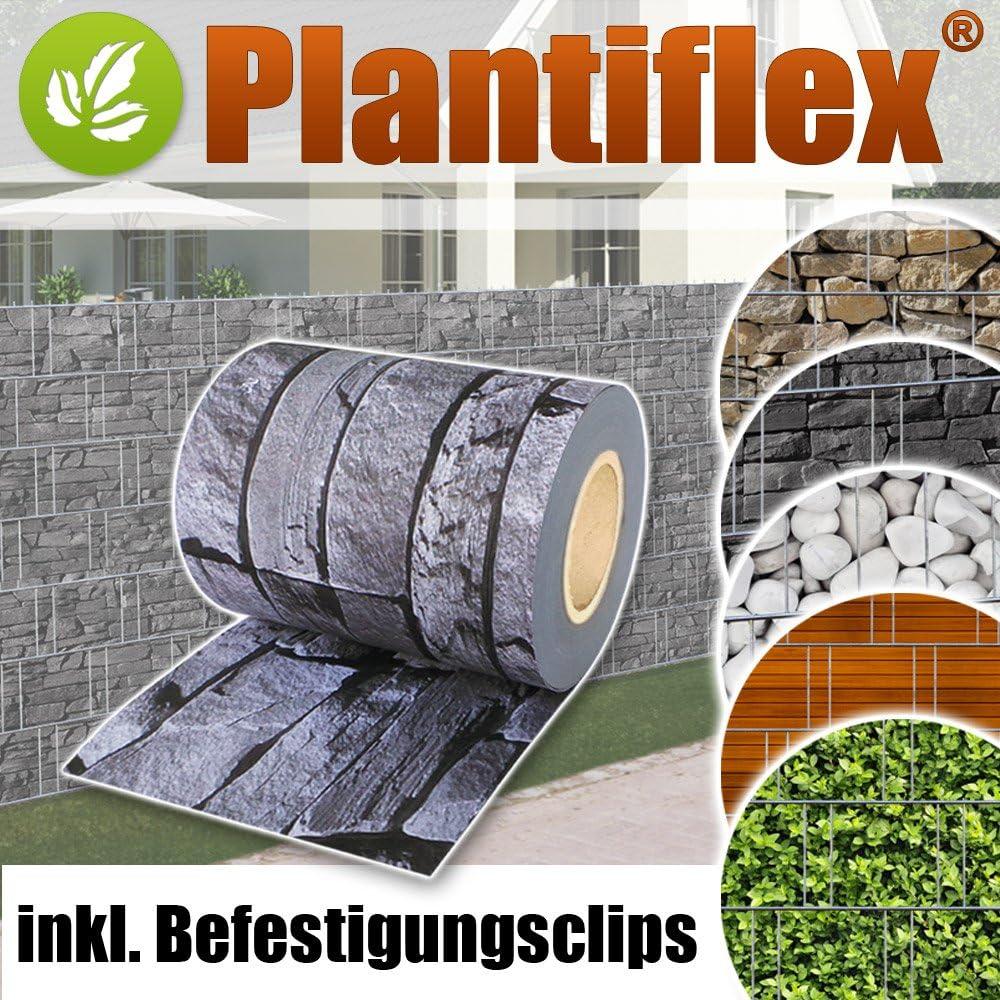 Plantiflex Sichtschutz Rolle 35m Blickdicht PVC Zaunfolie Windschutz f/ür Doppelstabmatten Zaun Grau