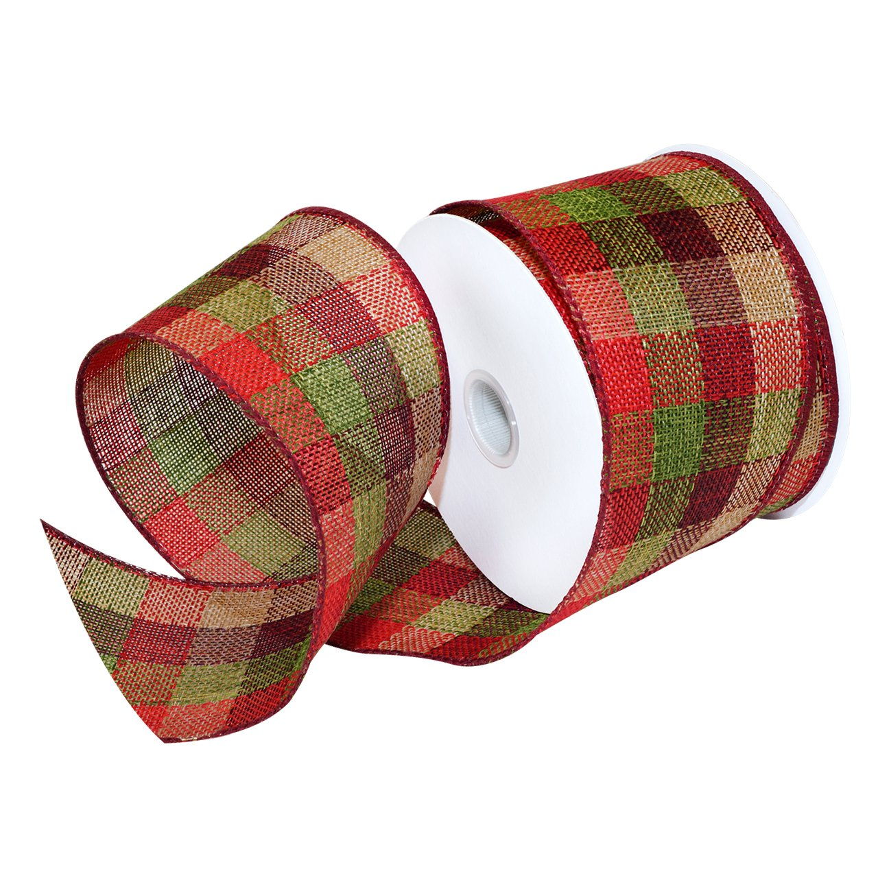 2-1//2-Inch Red Country Style Wired Patterned Christmas Ribbon 10-Yard
