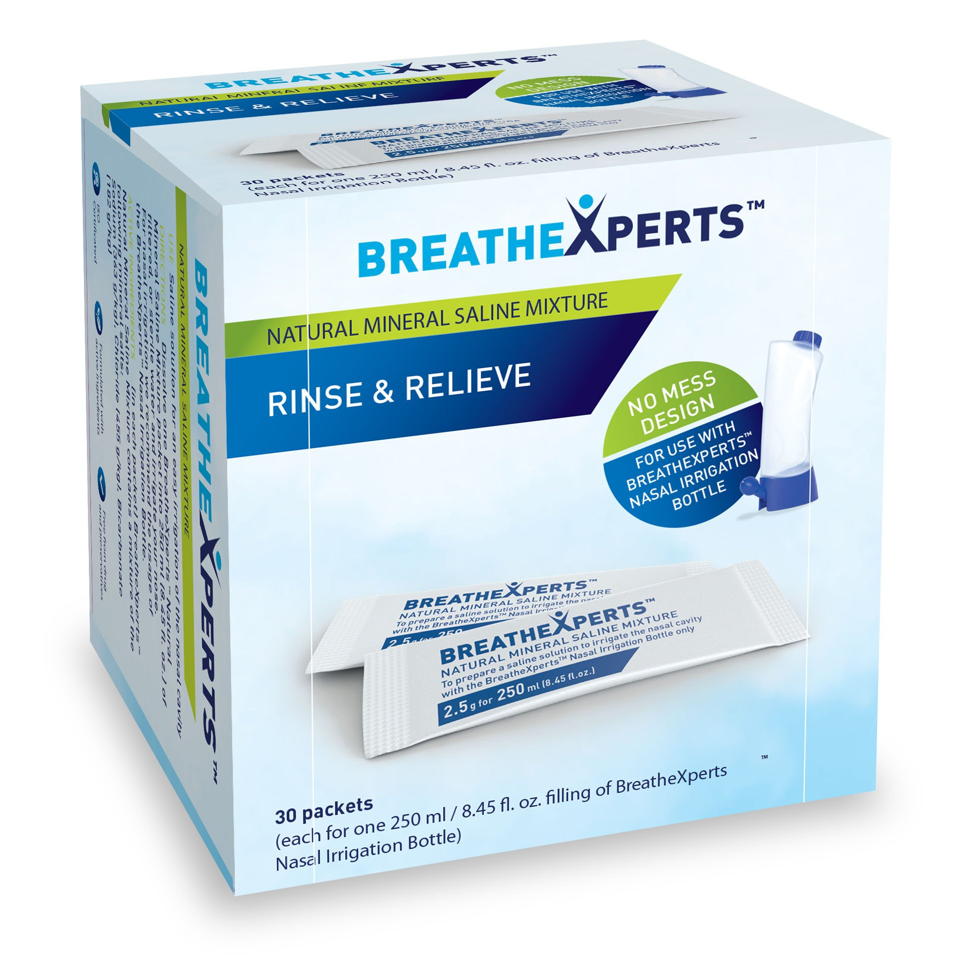 BreatheXperts Nasal Irrigation Mineral Saline Mixture Refill Packets (Pack of 24)